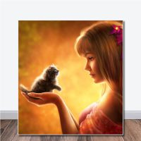 alfombrilla niña y gato